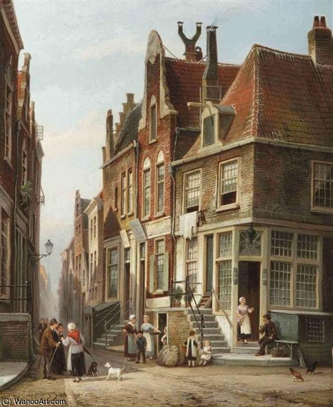 The Jewish Quarter by Cornelis Christiaan Dommelshuizen (1842-1928, Netherlands)