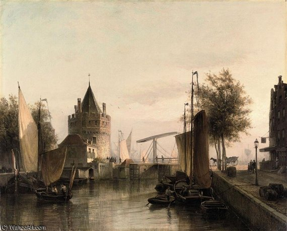 View Of Amsterdam, With The Schreierstoren by Cornelis Christiaan Dommelshuizen (1842-1928, Netherlands)