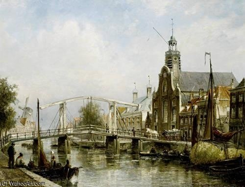 View Of The Magere Brug by Cornelis Christiaan Dommelshuizen (1842-1928, Netherlands)