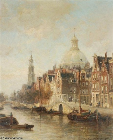 West Church Tower And Lutherian Church by Cornelis Christiaan Dommelshuizen (1842-1928, Netherlands) | Museum Quality Reproductions | ArtsDot.com