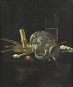Cornelis Van Lelienbergh - A Stoneware Jug, A Glass Of Beer, A Candlestick And A Pipe On A Draped Table