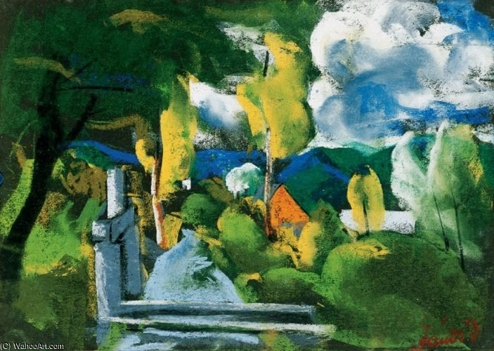 Landscape Over Nagybánya by David Jandi (1893-1944, Hungary)