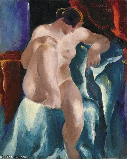 Nude In Front Of A Red Lambrequin by David Jandi (1893-1944, Hungary)
