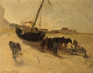 Gerhard Arij Ludwig Morgenstje.. - A Beach Scene With Horses And ..