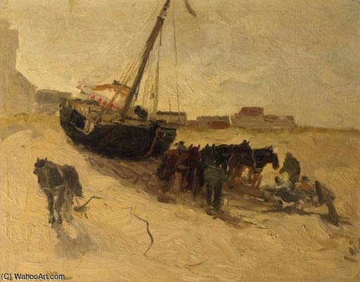 A Beach Scene With Horses And A Fishingsmack by Gerhard Arij Ludwig Morgenstje Munthe (1875-1927, Belgium)