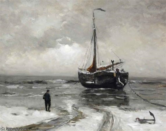 A Bomschuit Anchored In Winter by Gerhard Arij Ludwig Morgenstje Munthe (1875-1927, Belgium)