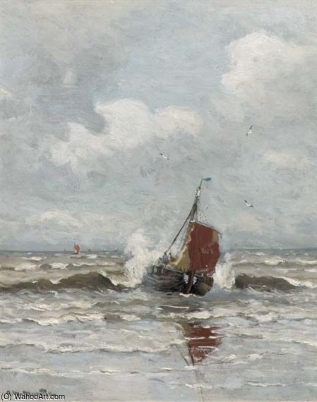 A Bomschuit In The Surf by Gerhard Arij Ludwig Morgenstje Munthe (1875-1927, Belgium)