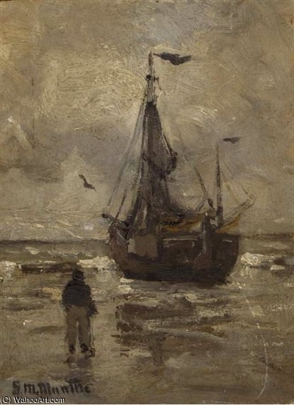 A Bomschuit On The Beach On A Grey Day by Gerhard Arij Ludwig Morgenstje Munthe (1875-1927, Belgium)