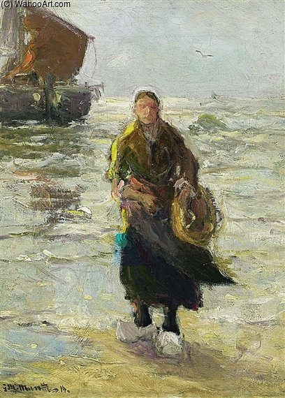 A Fisher Woman On The Beach by Gerhard Arij Ludwig Morgenstje Munthe (1875-1927, Belgium)