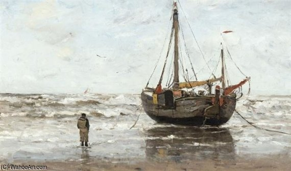 A Fishing Boat On The Beach by Gerhard Arij Ludwig Morgenstje Munthe (1875-1927, Belgium)