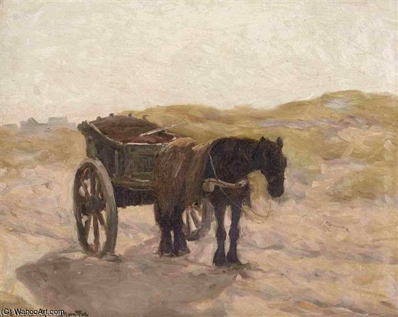 A Horse And Cart In The Dunes by Gerhard Arij Ludwig Morgenstje Munthe (1875-1927, Belgium)