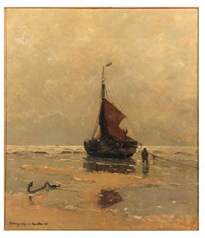 A Moored Bomschuit On The Beach Of Katwijk by Gerhard Arij Ludwig Morgenstje Munthe (1875-1927, Belgium) | ArtsDot.com