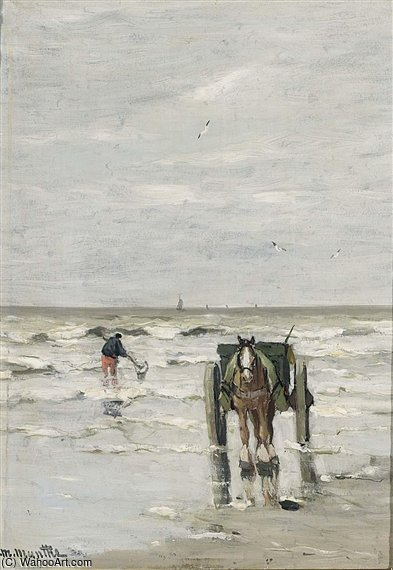 A Shellfisher On The Beach by Gerhard Arij Ludwig Morgenstje Munthe (1875-1927, Belgium)