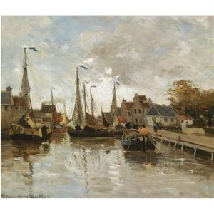 Gerhard Arij Ludwig Morgenstje.. - A View Of A Small Harbour