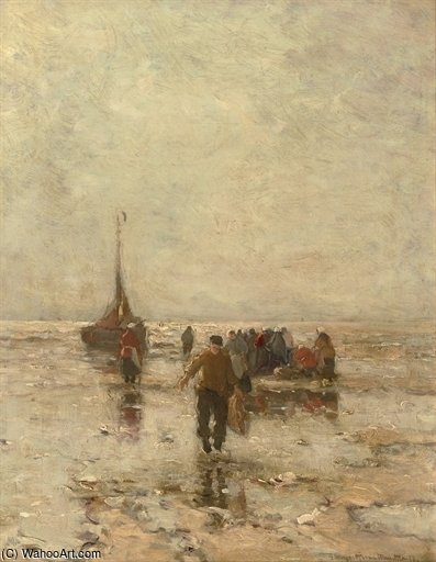 After The Day's Catch By Low Tide by Gerhard Arij Ludwig Morgenstje Munthe (1875-1927, Belgium)