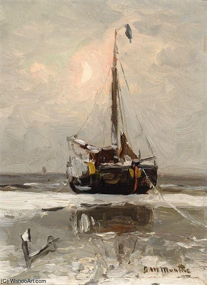 Barge On The Beach At Dusk by Gerhard Arij Ludwig Morgenstje Munthe (1875-1927, Belgium)