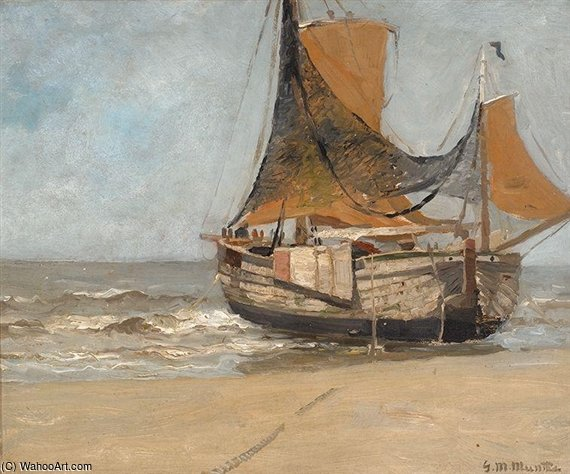 Barge On The Beach by Gerhard Arij Ludwig Morgenstje Munthe (1875-1927, Belgium)