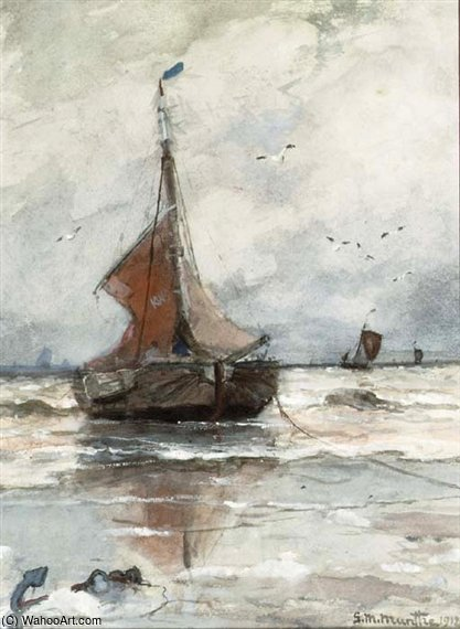 Bomschuit Anchored In The Surf by Gerhard Arij Ludwig Morgenstje Munthe (1875-1927, Belgium)