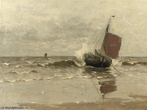 Bomschuit In The Surf, Katwijk by Gerhard Arij Ludwig Morgenstje Munthe (1875-1927, Belgium)