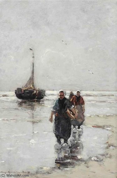 Fisherwomen Near A Bomschuit On The Beach by Gerhard Arij Ludwig Morgenstje Munthe (1875-1927, Belgium) | Oil Painting | ArtsDot.com