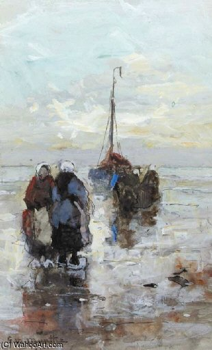 Fisherwomen On The Beach Of Katwijk by Gerhard Arij Ludwig Morgenstje Munthe (1875-1927, Belgium)