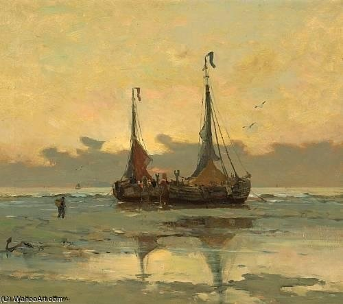 Fishing Boats At Low Tide by Gerhard Arij Ludwig Morgenstje Munthe (1875-1927, Belgium)