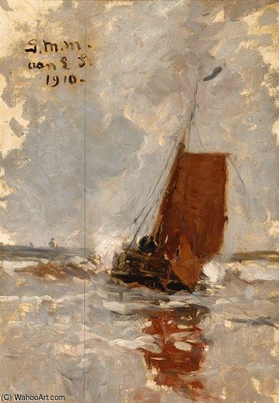 Sailing Barges At Sea by Gerhard Arij Ludwig Morgenstje Munthe (1875-1927, Belgium)