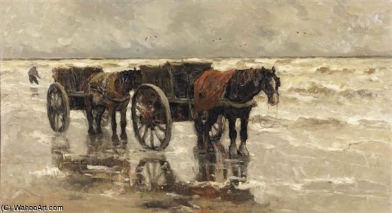 Shell Fisher On The Beach by Gerhard Arij Ludwig Morgenstje Munthe (1875-1927, Belgium)