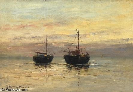 Two Fishing Boats On The Beach by Gerhard Arij Ludwig Morgenstje Munthe (1875-1927, Belgium)