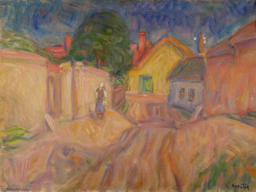 Curved Street At Szentendre by Janos Kmetty (1889-1975, Hungary)