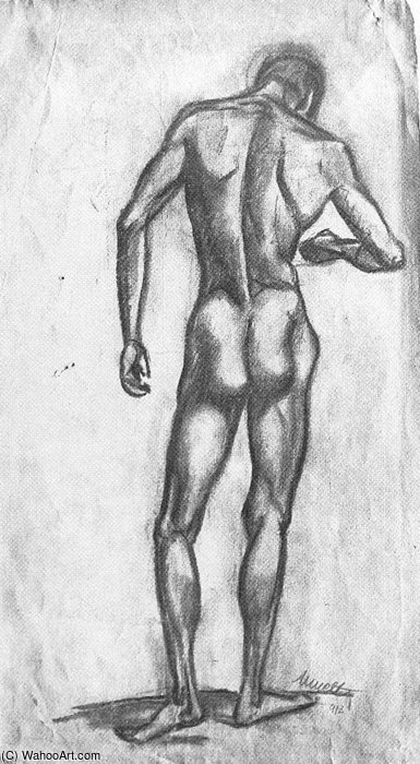 Male Nude by Janos Kmetty (1889-1975, Hungary)