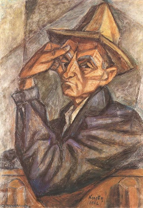 Self-portrait With Yellow Hat by Janos Kmetty (1889-1975, Hungary)