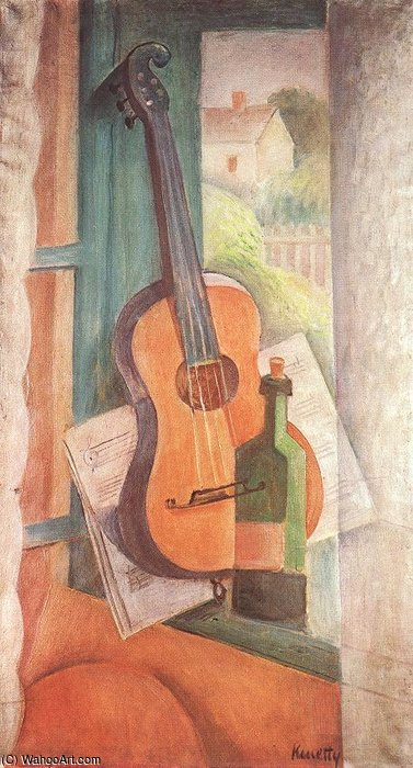 Still-life With Guitar by Janos Kmetty (1889-1975, Hungary)