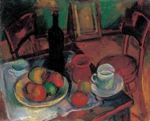 Janos Kmetty - Still-life With Table And Chai..