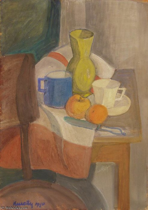 Still-life With Yellow Jar by Janos Kmetty (1889-1975, Hungary) | ArtsDot.com