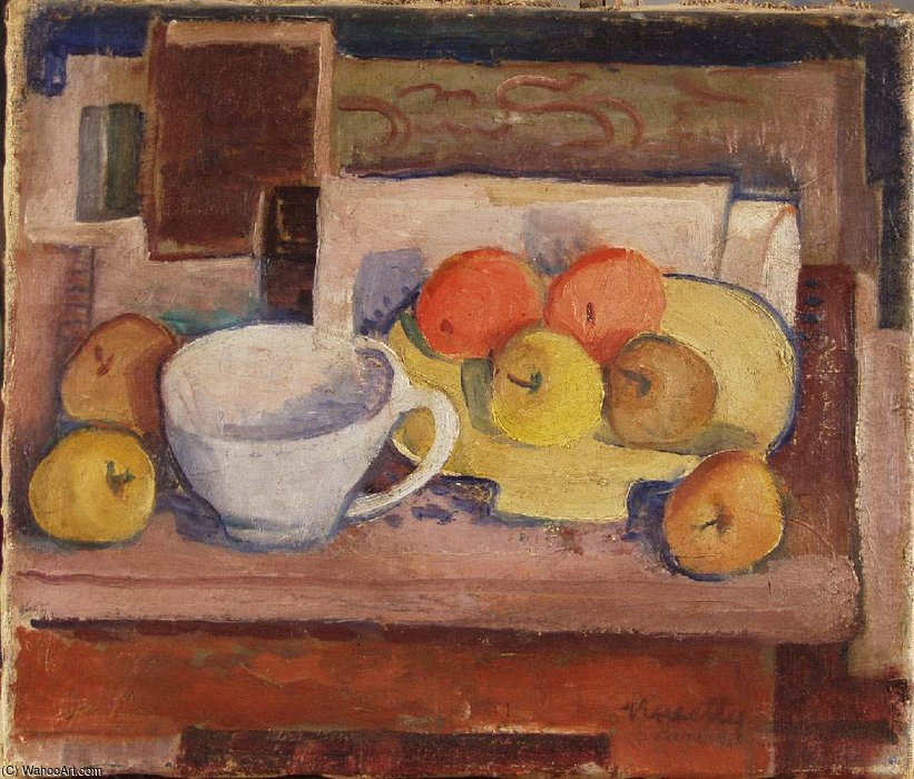 Still-life With Yellow Plate by Janos Kmetty (1889-1975, Hungary)