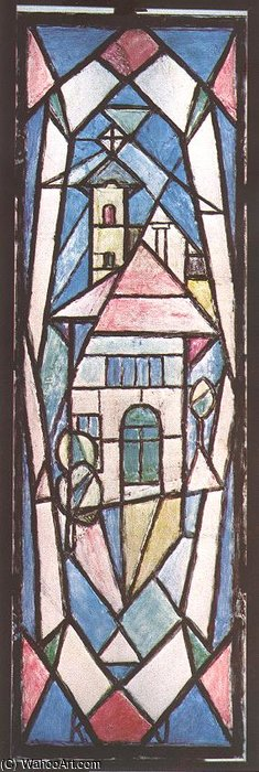 Triple Stained Glass Window I by Janos Kmetty (1889-1975, Hungary)