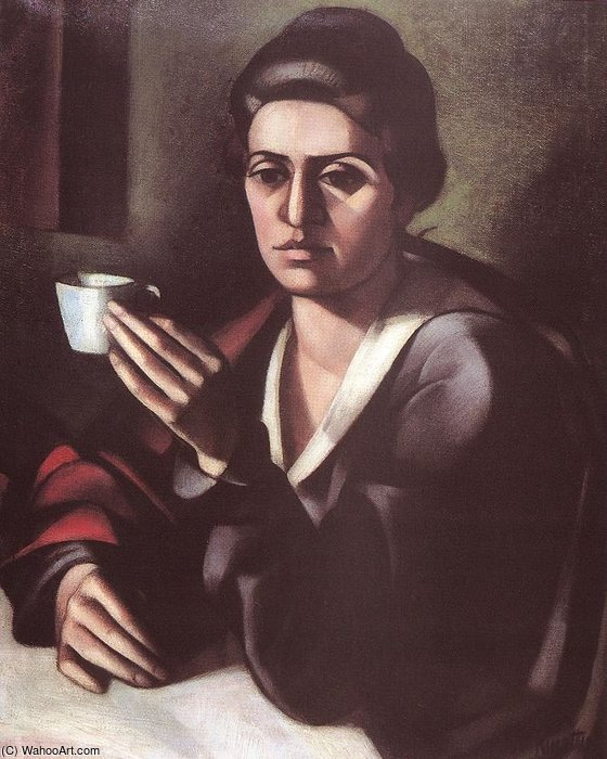 Woman With A Cup by Janos Kmetty (1889-1975, Hungary) | Painting Copy | ArtsDot.com