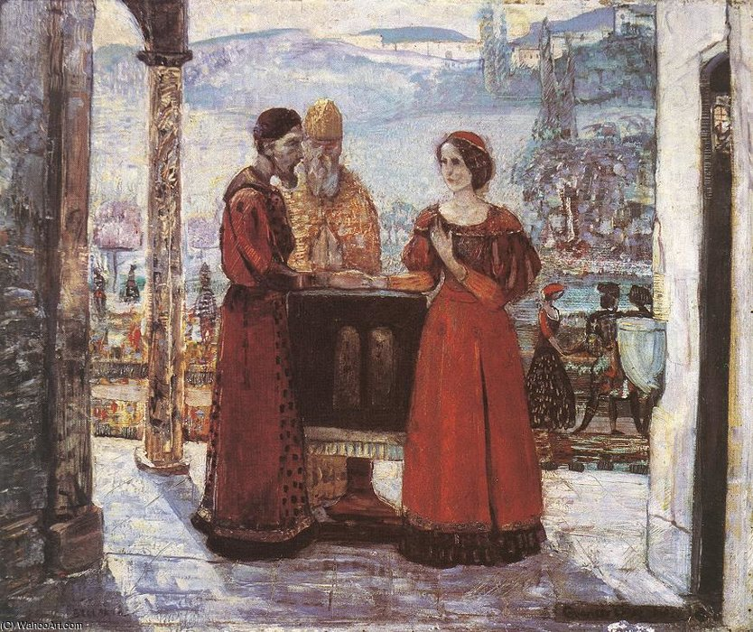 The Betrothal Of Mary by Gulacsy Lajos Kalman (1882-1932, Hungary) | Museum Quality Reproductions | ArtsDot.com