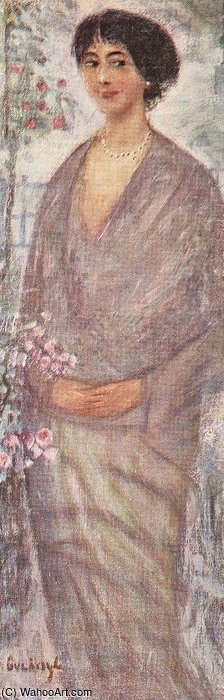 Young Woman With Rose-tree by Gulacsy Lajos Kalman (1882-1932, Hungary) | Art Reproduction | ArtsDot.com