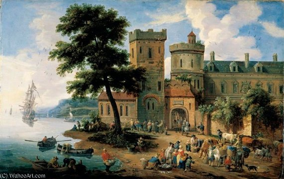 A Coastal Landscape With A Crowded Fish Market Before The Walls Of A Town by Mathys Schoevaerdts (1665-1710, Belgium)