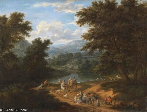 A Landscape With Travellers On A Path by Mathys Schoevaerdts (1665-1710, Belgium)