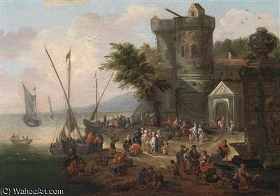 A Lively Coastal Landscape With A Fortress And A Harbour In The Background by Mathys Schoevaerdts (1665-1710, Belgium) | ArtsDot.com