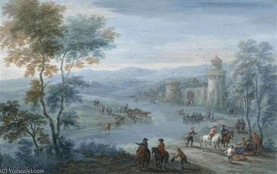 A River Landscape With Figures On Horseback And Cattle Outside A Walled Town by Mathys Schoevaerdts (1665-1710, Belgium)