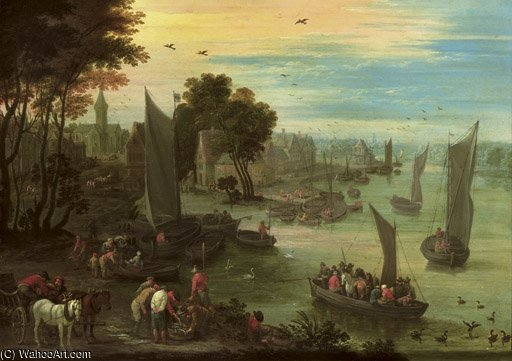 A River Landscape With Numerous Figures In Sailing Boats by Mathys Schoevaerdts (1665-1710, Belgium)