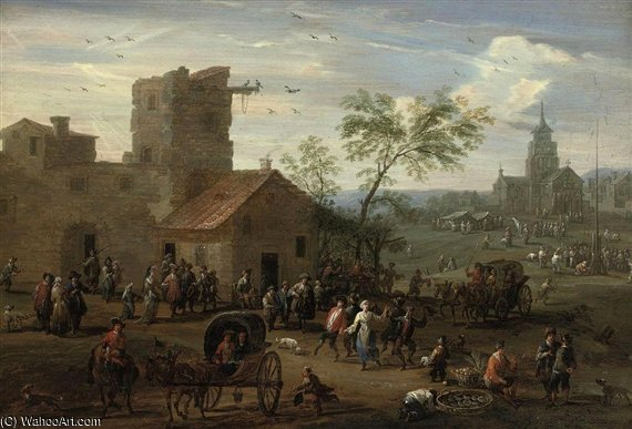 A Village 'kermesse' With Figures Making Merry by Mathys Schoevaerdts (1665-1710, Belgium)