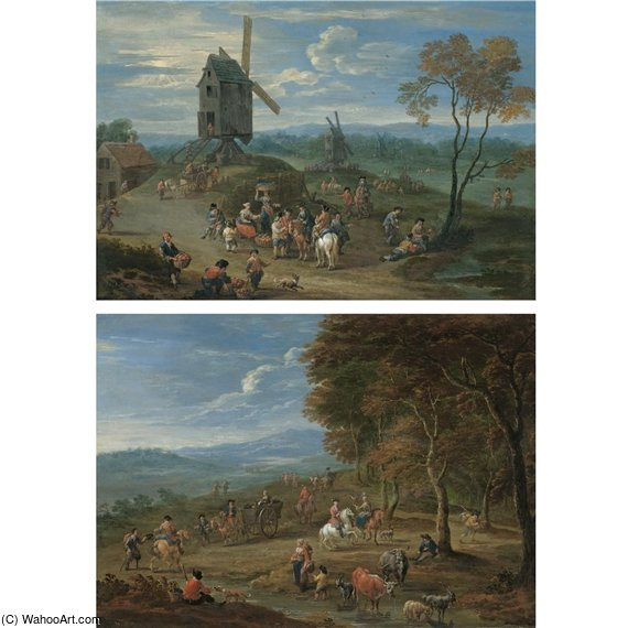 An Extensive Landscape With Peasants Selling Fruit Before A Series Of Windmills by Mathys Schoevaerdts (1665-1710, Belgium)
