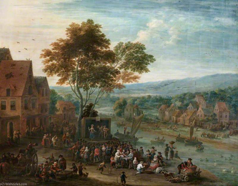 An Extensive River Landscape With Travelling Theatrical Troupe by Mathys Schoevaerdts (1665-1710, Belgium)