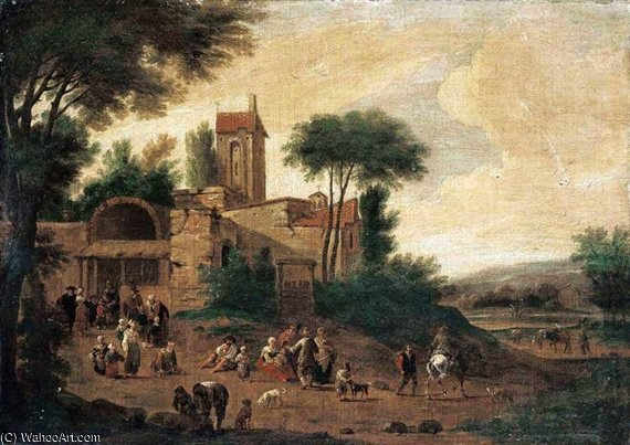 An Italianate Landscape With Figures Before A Church by Mathys Schoevaerdts (1665-1710, Belgium) | ArtsDot.com