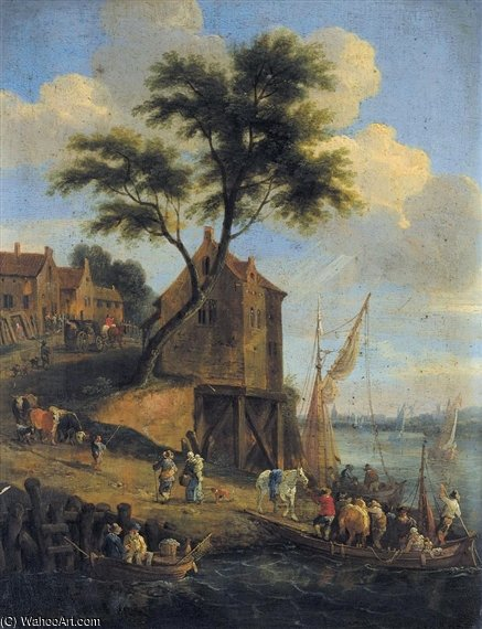 Figures Disembarking From A Ferry With Their Horses by Mathys Schoevaerdts (1665-1710, Belgium)